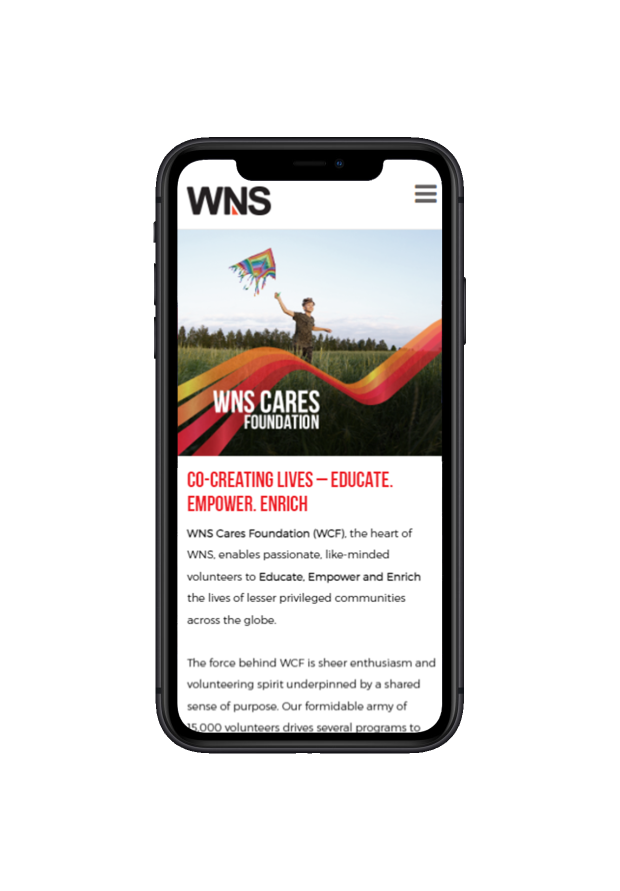 Image showing responsiveness of WNS website